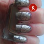 Gold roses stamped over brown