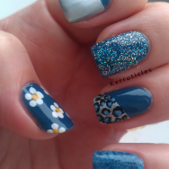 Blue kitchen sink manicure nails