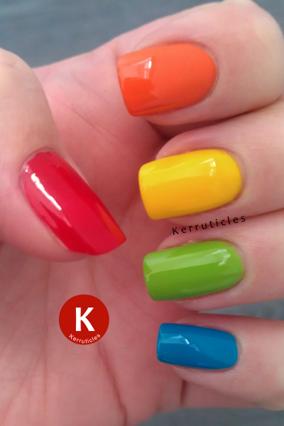 Skittle manicure red orange yellow green blue