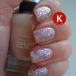 Barry M Rose Quartz Glitter over Sally Hansen Mousseline