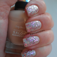Barry M Rose Quartz Glitter over Sally Hansen Mousseline nails