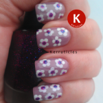 Dotted nail art flowers: Beauty UK Smokey Lilac, NYC Pinstripe White and W7 Cosmic Purple