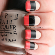 Colour blocked OPI My Vampire Is Buff George Love Rat Collection 2000 Liquorice nails