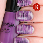 Fan brush purple nail art
