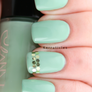 NYC Mint Macaroon with gold glequins nails