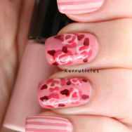 Pink stripes and vintage roses nails