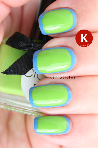 Green and blue outline nails Ciate Mojito and L'Oreal Sky Fits Heaven