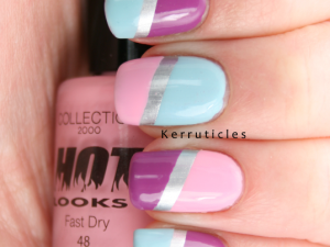 Colour blocked Collection 2000 Candy Floss Nails Inc Devonshire Row Models Own Blooboo Barry M Foil Effects Silver nails