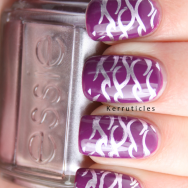 Barry M Bright Purple stamped with Essie Nothing Else Metals Gals GA3 nails
