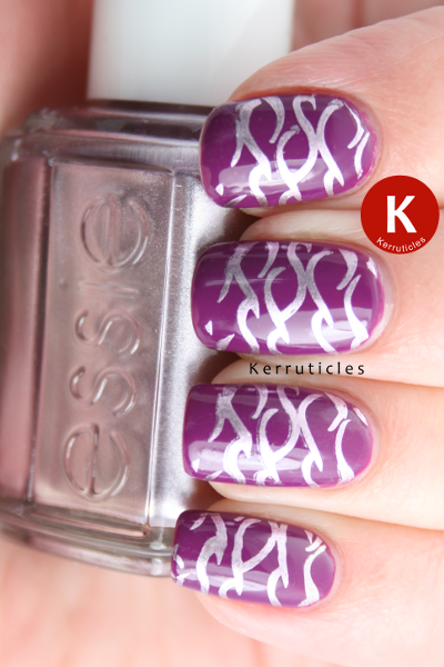 Barry M Bright Purple stamped with Essie Nothing Else Metals Gals GA3
