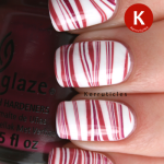 Stripey water marble using China Glaze White On White, Fifth Avenue and Purr-fect Plum