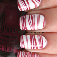 China Glaze stripey white plum and pink water marble nails