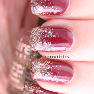 Glitter gradient Revlon Bewitching and Claire's Beige Glitter Gold nails