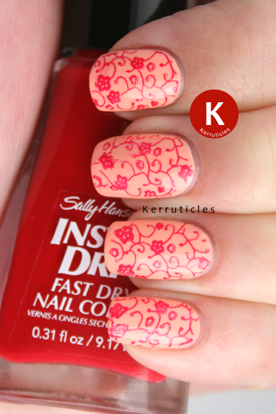 Nails Inc You're A Peach stamped Konad M73 Sally Hansen Rapid Red