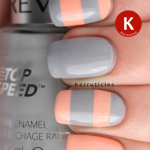 Stripey grey and peach Revlon Hazy Nails Inc You're A Peach