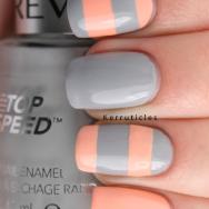 Stripey grey and peach Revlon Hazy Nails Inc You're A Peach nails