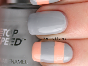 Stripey grey and peach Revlon Hazy Nails Inc You're A Peach nails