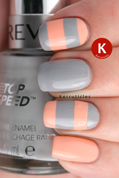 Stripey grey and peach Revlon Hazy Nails Inc You're A Peach