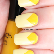 Triangular yellow half moon nails