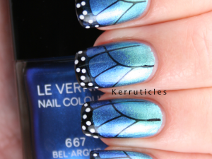 Butterfly nails with Chanel Azuré and Bel-Argus nails