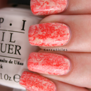 Coral and cream cling film saran wrap nails