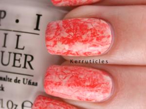 Coral and cream cling film saran wrap nails