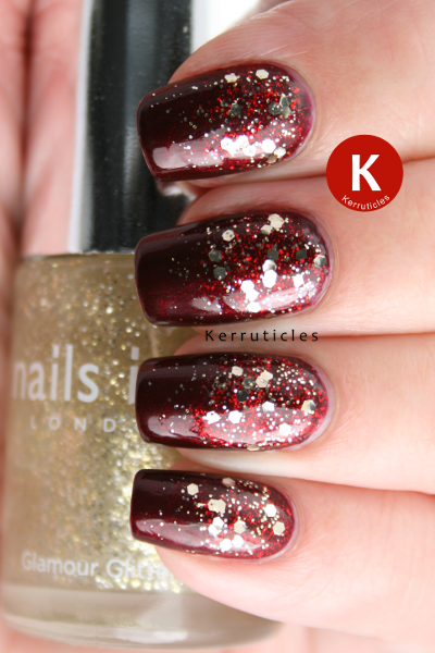 Glitter gradient in red and gold