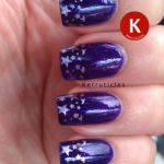 Purple stamped French tips stars