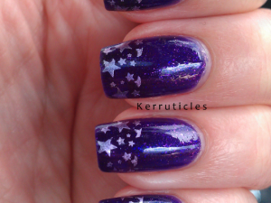 Purple stamped French tips stars nails