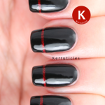 Black with sparkly red stripe French tips