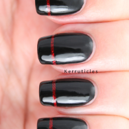 Black with sparkly red stripe French tips nails