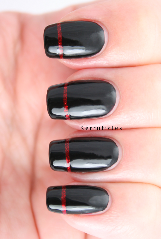 Black Manicure With Sparkly Red Stripe French Tips