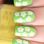 Dotted flowers Barry M polishes nails