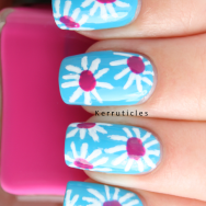 Pink and white daisies nail art nails