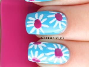 Pink and white daisies nail art nails