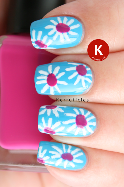 Pink and white daisies nail art