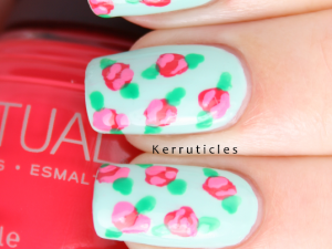 Roses nail art with SpaRitual Last Tango and Delight nails