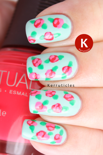 Vintage roses nail art with SpaRitual Last Tango and Delight