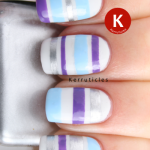33DC Day 2 tape mani purple blue silver stripes