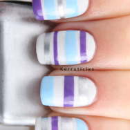 Tape mani purple blue silver stripes nails