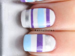 Tape mani purple blue silver stripes nails