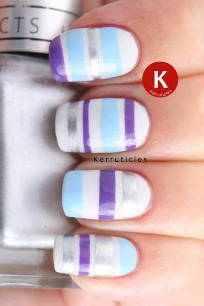 33DC Day 2 tape mani purple blue silver stripes