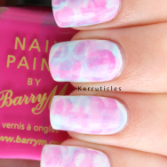 Pink and blue watercolour nails with Barry M polishes nails