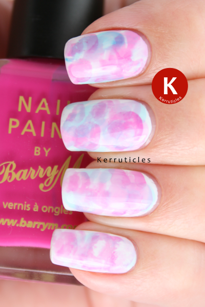 Pink and blue watercolour nails with Barry M polishes