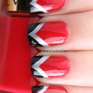 Red black and silver fishtail nails
