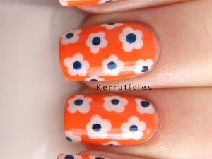 Day 1: Flowers - dotted flowers using OPI My Vampire Is Buff and Barry M Backberry on a base of Barry M Mango