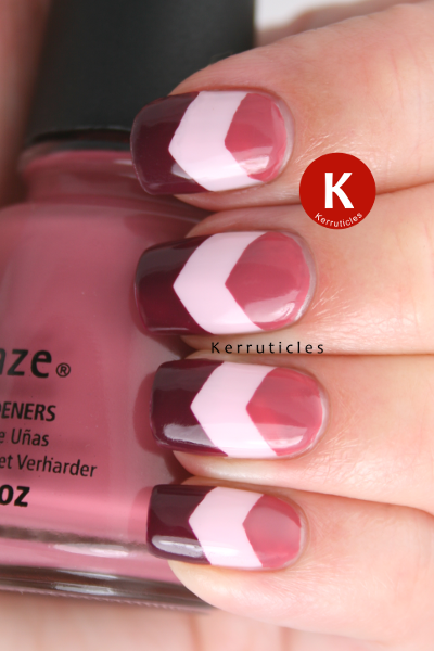 33DC Chevron nails China Glaze Purr-fect Plum Fifth Avenue Ciate Cutie Pie