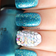 Mermaid nails Sinful Colors Aqua, Nail Junkie, silver holographic sequin discs