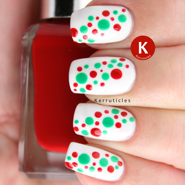 Dotted red and green nails using Barry M