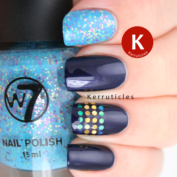 NYC West Village navy glequins W7 Mosaic nails